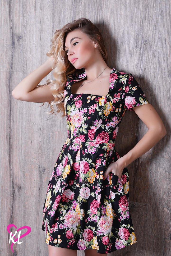 ac301455182695f Красивое летнее платье из стрейч-джинса в цветочный принт - Стильная  женская одежда оптом,