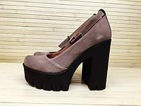Туфли замшевые серые на высоком каблуке