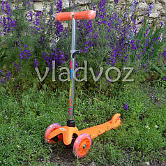 Детский самокат Itrike micro Scooter колёса светятся ручка регулируется оранжевый до 30кг