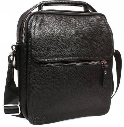 Превосходный кожаный мессенджер с ручкой и плечевым ремнем, черный Alvi av-4-729
