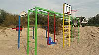 Спортивный детский комплекс: 2-х уровневый турник, рукоход, качель, шведская стенка, баскетбольный щ, фото 1