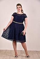 Синее летнее платье батал из гипюра с коротким рукавом 770296-1,размеры 42,44,46,48,50,52