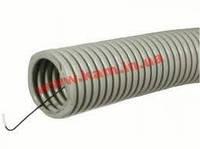 ДКС Труба ПВХ гибкая гофр. д.25мм, лёгкая с протяжкой, цвет серый, 50м (91925)