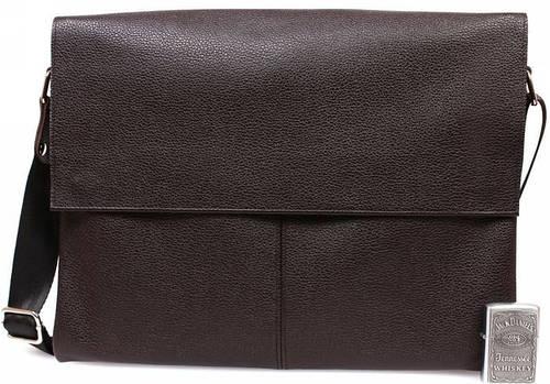 Модная кожаная сумка коричневого цвета под документы формата А4, Alvi av-102brown