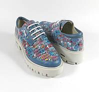 Женские туфли кожа голубые
