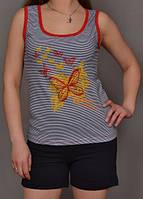 Пижама женская комплект домашней одежды хлопковая майка и шортики (100% хлопок) Украина