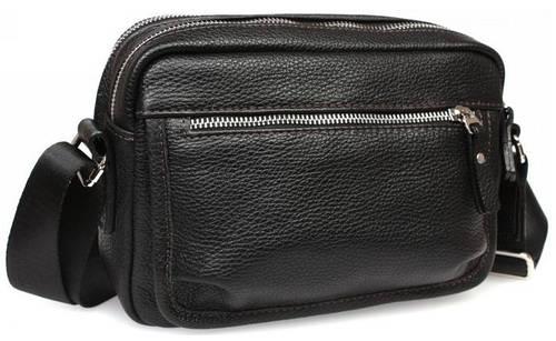 Компактная мужская сумка горизонтального типа черная, кожаная Alvi av-30-0092