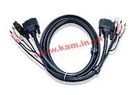 3.0 м. кабель/ шнур, Монитор (DVI-D Single Link) +USB (Клавиатура+Мышь) +Звук (линейный, (2L-7D03U)