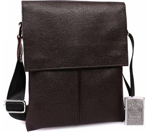Кожаная мужская сумка на клапане, коричневая Alvi av-106brown
