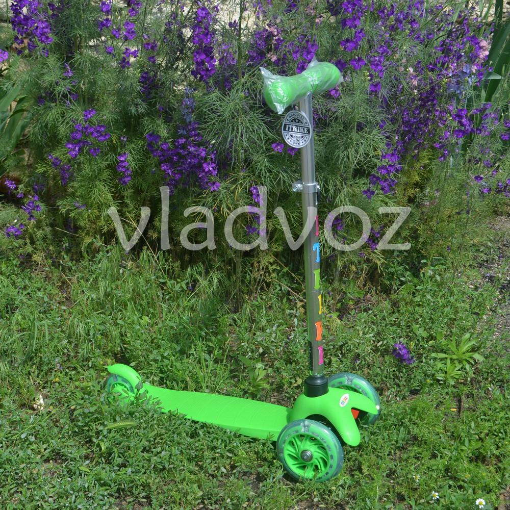 Детский самокат Itrike micro Scooter колёса светятся ручка регулируется салатовый до 30 кг.