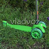 Детский самокат Itrike micro Scooter колёса светятся ручка регулируется салатовый до 30 кг., фото 3