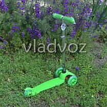 Детский самокат Itrike micro Scooter колёса светятся ручка регулируется салатовый до 30 кг., фото 2