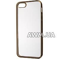 Силиконовый чехол Baseus Lustre Clear для Apple iPhone 5 / 5S золотой