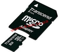 Карта памяти TRANSCEND microSDHC 8 GB Class 10 UHS-I Premium + SD ad (TS8GUSDU1)
