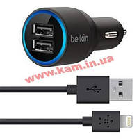 Зарядное устройство Belkin Dual USB MicroCharger (12V + LIGHTNING сable, 2 USB x 2. (F8J071bt04-BLK)