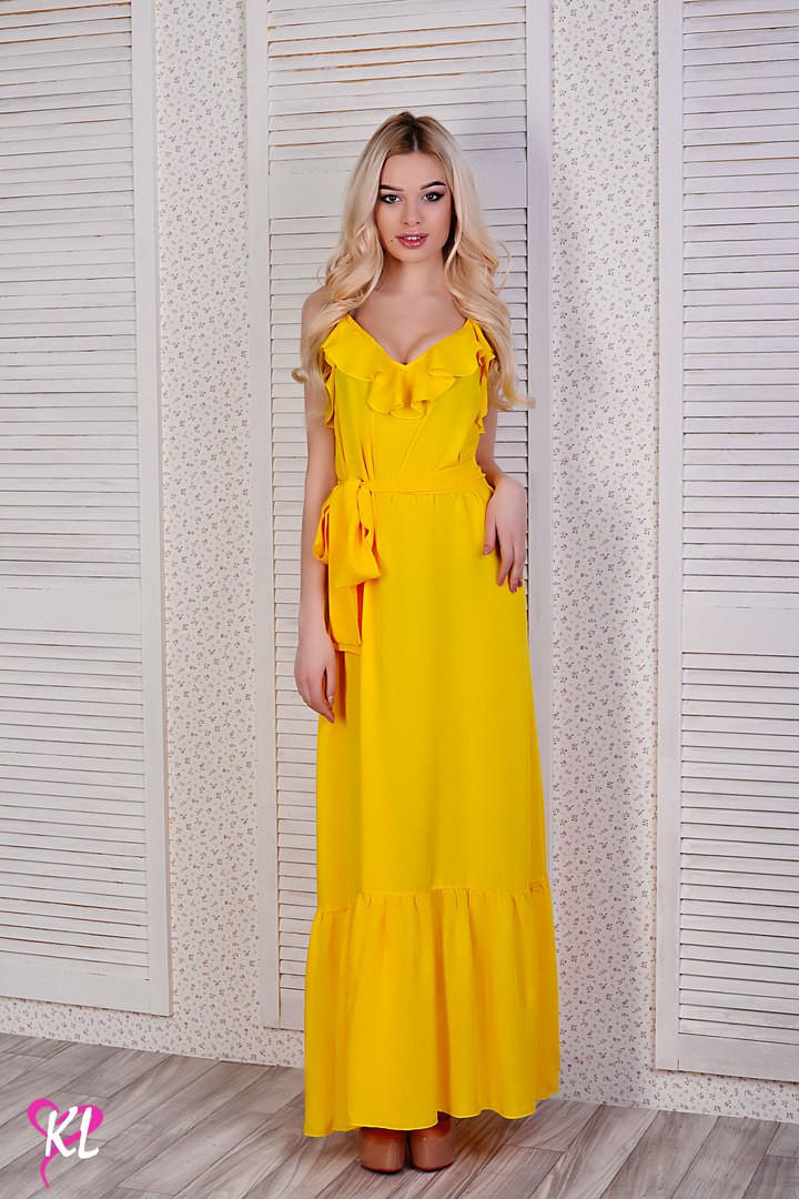 fbca6149cecdc Летнее женское платье длинное в пол с воланом на груди желтое, фото 1