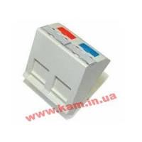 Адаптер АМР 45x45 2хRJ45 накл, белый (0-1711797-1)
