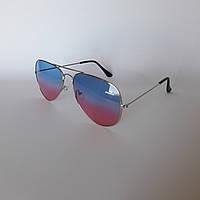 Солнцезащитные очки авиаторы голубые с розовым