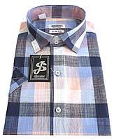 Мужская рубашка классическая с коротким рукавом в клетку №10/3  - 6627 V4 RC