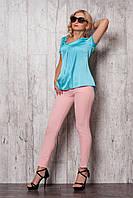 Женский костюм 643 (пудровые брюки голубая блузка)