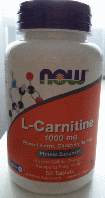 L-карнитин, NOW Foods, L-Carnitine, 1000mg, 50 tabl