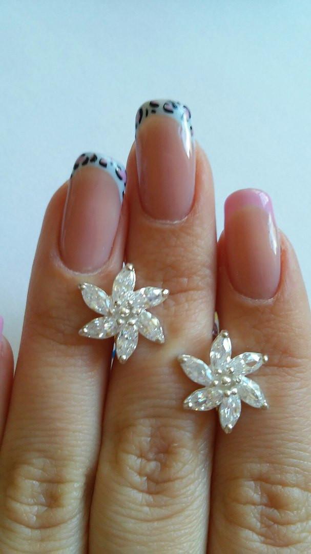 Сережки срібні з фіанітами