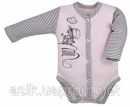 """Боди c длинным рукавом """"Zebra"""" цвет - розовый. 74 р"""