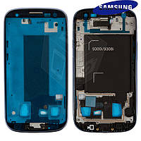 Рамка крепления дисплея для Samsung Galaxy S3 Duos i9300i, синяя, оригинал