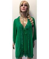 Комплект халат+пеньюар+стринги  БОЛЬШИЕ РАЗМЕРЫ №8227 KR-1850 (зеленый)