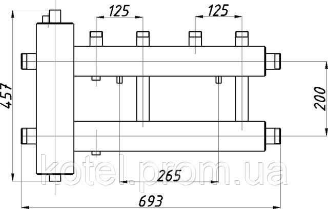 Схема коллектора с гидроуравнивателем СК 222.125 в изоляции