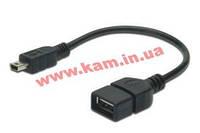 Адаптер USB 2.0 (AF/ miniB 5pin) OTG DIGITUS 0.2м, Black/ Черный, bulk (AK-300310-002-S)