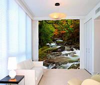 """Фотообои """"Водопад в лесу"""", Фактурная текстура (холст, иней, декоративная штукатурка)"""