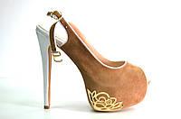 Босоножки женские бежевый замшевые на каблуке, женские босоножки