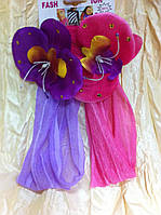 повязка на голову с цветком для девочки цвет малиновый и сиреневый