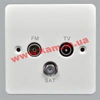 Розетка антена, TV/ FM/ SAT, 86x86 мм, Logic Plus, белая, MK (K3553 WHI)