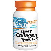 Коллаген 1 и 3 типа от Doctor's Best, 500 мг, 240 капсул. Сделано в США
