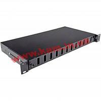 Патч-панель 24 порти під 12 адаптерів SC Duplex/ LC Quad, пуста,1U, каб.вводи для 2x (UA-FOP12SCD-B)