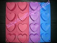 Форма силиконовая Сердечки ровный планшет 8шт, фото 1