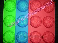 Форма силиконовая Ассорти цветочное планшет 6шт, фото 1