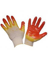 Рукавички трикотажні ХБ, латексне покриття, оверлок на манжеті жовтого кольору, (WERK)