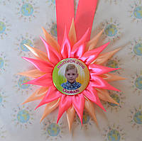 Медаль для детского сада с розеткой-канзаши Гербера
