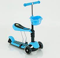 Самокат 4109 / 466-146  голубой, 3-х колесный пластмассовый с сидением
