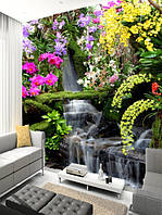 """Фотообои """"Цветы и водопад"""", Фактурная текстура (холст, иней, декоративная штукатурка)"""