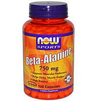 Бета Аланин 750 мг 120 капс сила и выносливость мышц Now Foods USA