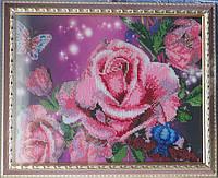 """Картина вышитая бисером """"Акварельные розы"""""""
