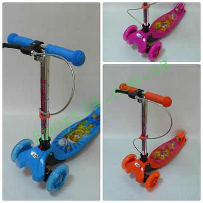 Детский трехколесный самокат Scooter Hand brik от 3 лет (ручной тормоз, светящиеся колеса, руль от 49-74см)