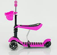 Самокат 4109 / 466-146 розовый, 3-х колесный пластмассовый с сидением
