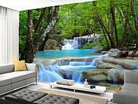 """Фотообои """"Лесной водопад"""", Фактурная текстура (холст, иней, декоративная штукатурка)"""