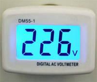 Вольтметр сетевой розеточный DM55-1, ЖК+подсветка