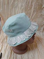 Панамка для девочки с полями цвет голубой